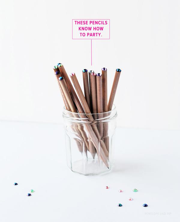 DIY sparkle top pencils
