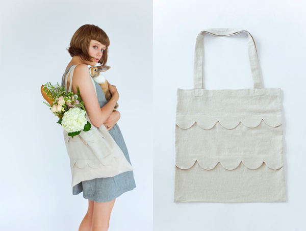 DIY scalloped bag