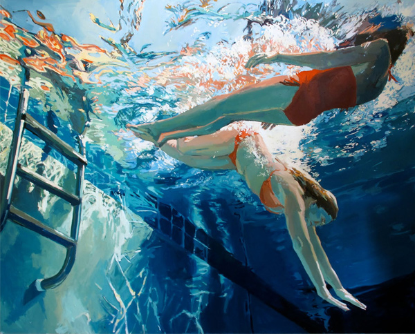 Samantha French painting: Dive in, float