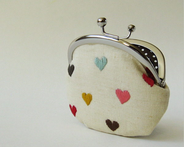 Multi-color hearts on linen coin purse from OKTAK