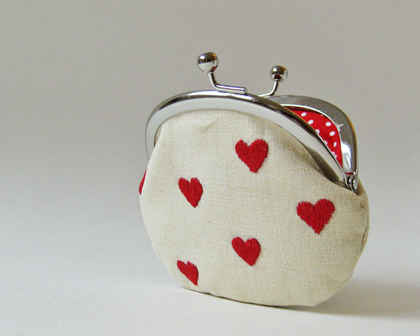Red hearts on linen coin purse from OKTAK