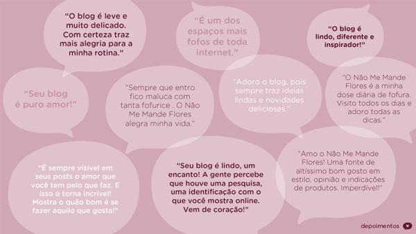 Mídia Kit 2013 do blog Não Me Mande Flores - depoimentos