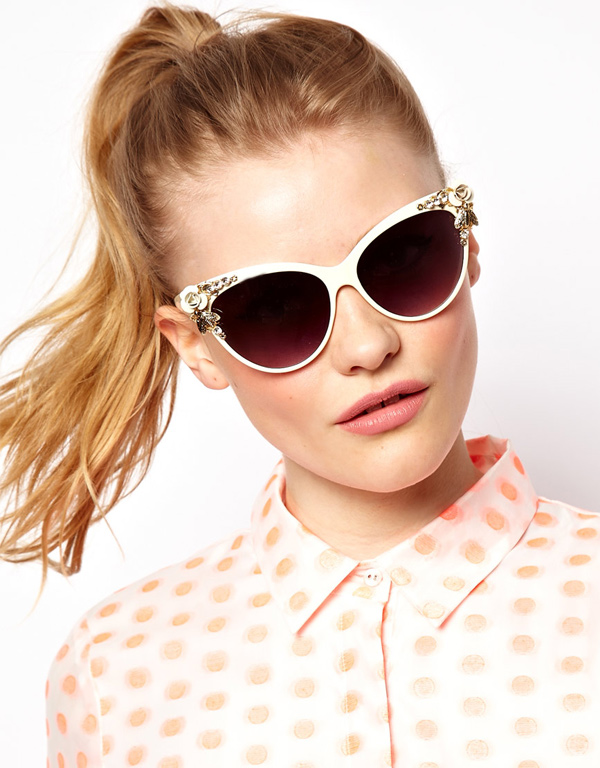 ASOS - Cat Eye Sunglasses with Bug & Flower Detail