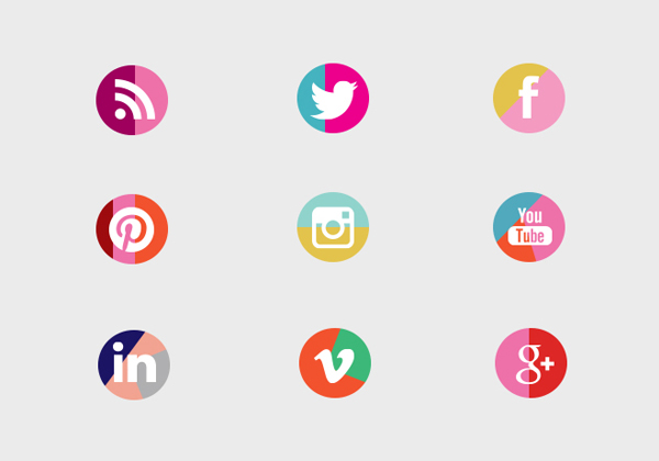 DIY Colour Block Social Media Buttons