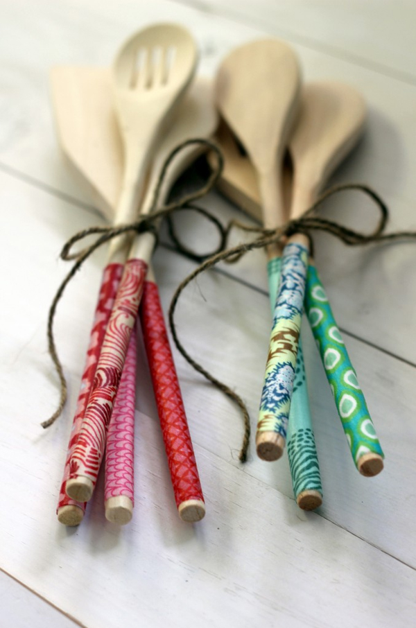 fabric-covered wooden spoons