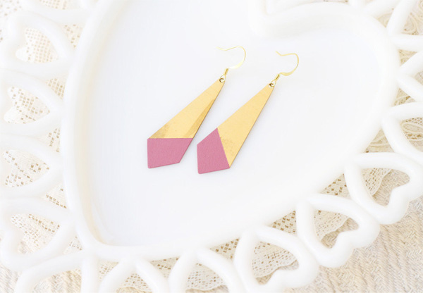 Acute Designs -  Mauve Dipped Brass Earrings
