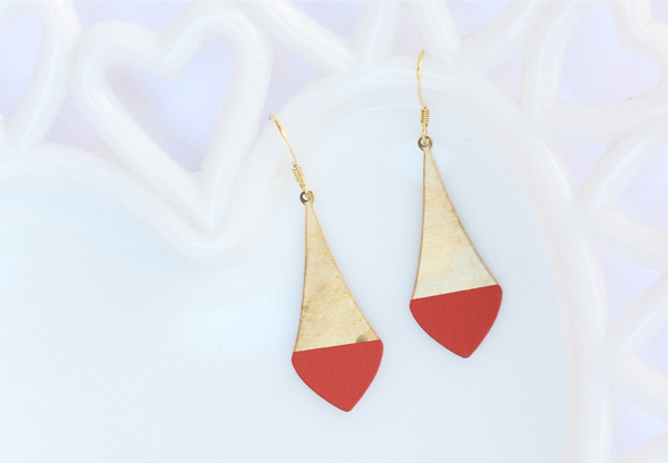 Acute Designs - Bright Coral Dipped Brass Earrings