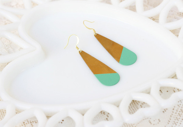 Acute Designs -  Jade Dipped Brass Earrings
