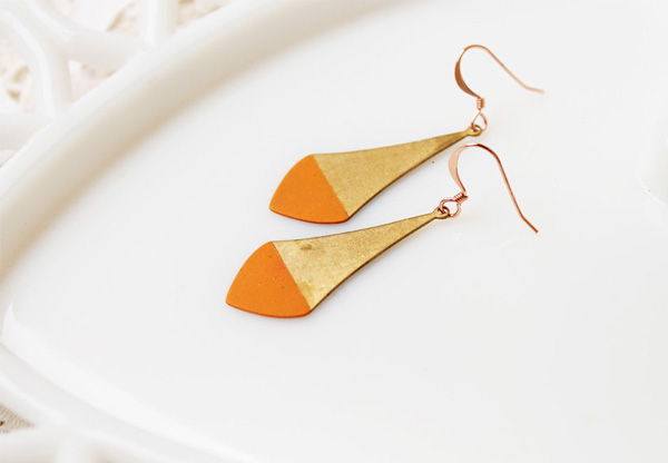 Acute Designs - Tangerine Dipped Brass Earrings