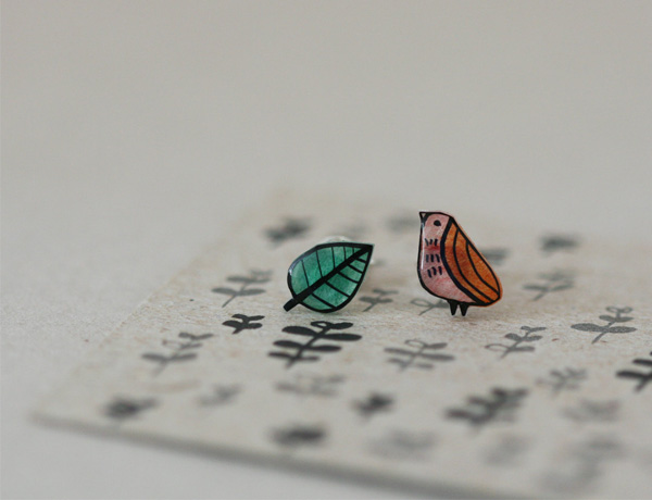 Lila Ruby King - Little Quail Earring Studs
