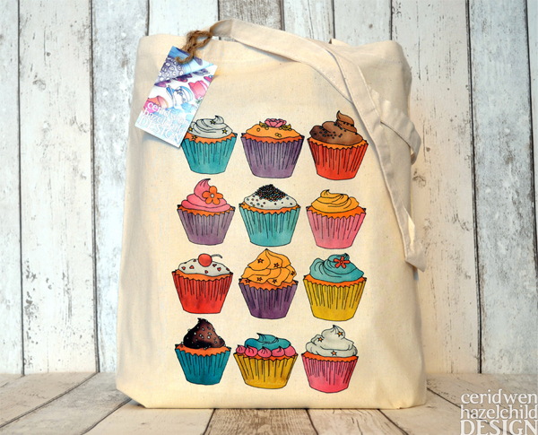 Ceridwen Hazelchild Design - Cupcakes Eco Cotton Tote Bag