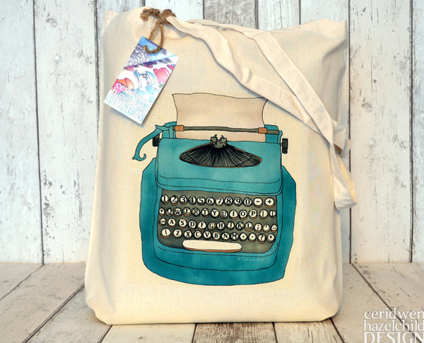 Ceridwen Hazelchild Design - Blue Typewriter Eco Cotton Tote Bag