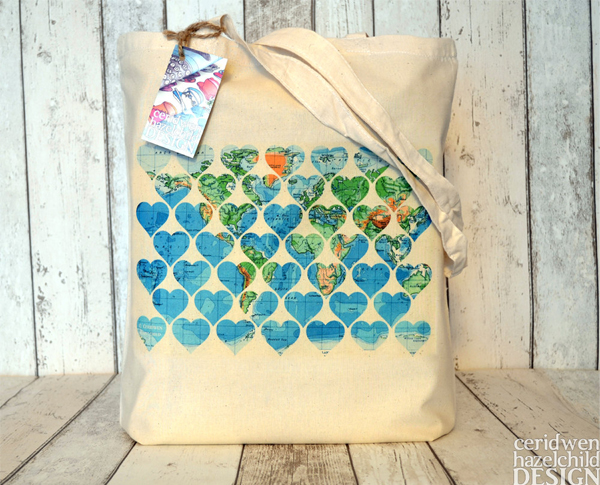 Ceridwen Hazelchild Design - Vintage World Map Hearts Eco Cotton Tote Bag