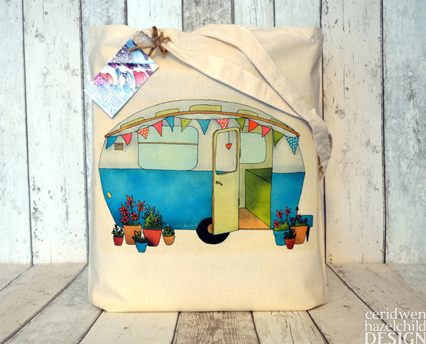 Ceridwen Hazelchild Design - Vintage Blue Caravan Eco Cotton Tote Bag
