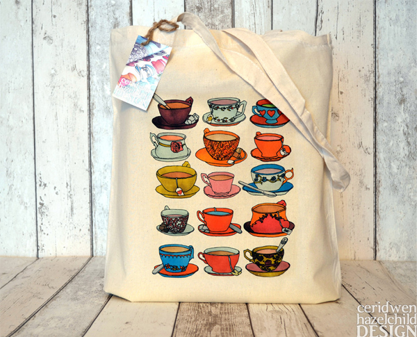 Ceridwen Hazelchild Design - Vintage Teacups and Saucers Eco Cotton Tote Bag