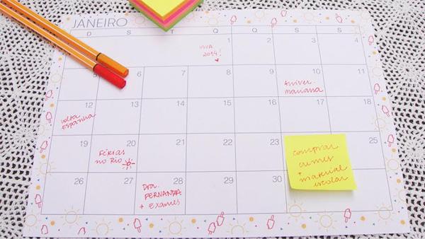 Planejamento mensal - janeiro de 2014