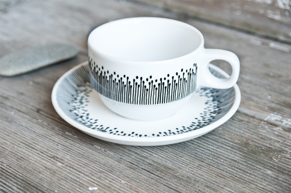Room For Emptiness: Hand-painted vintage cup & saucer