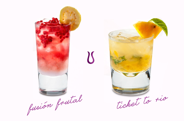 drinks com Tequila Violeta: Fusión Frutal & Ticket to Rio