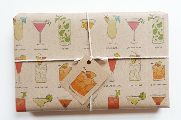 gift wrap - classic cocktails