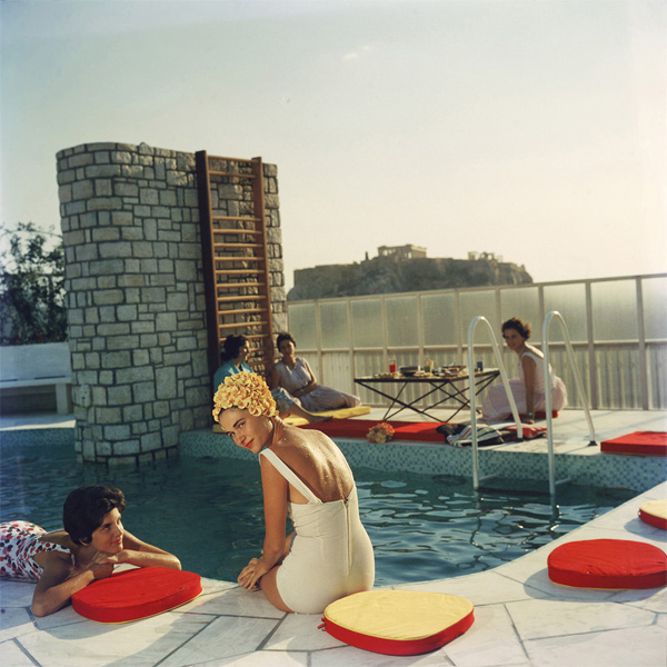 Young women by the Canellopoulos penthouse pool, Athens, July 1961, by Slim Aarons