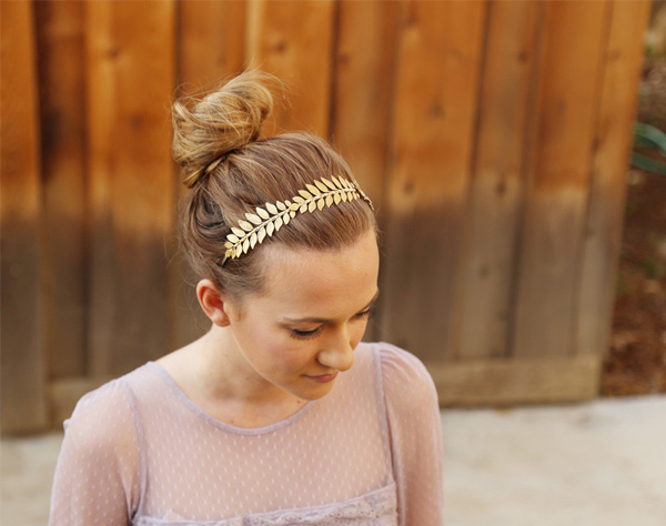riple Golden Goddess Leaf Headband