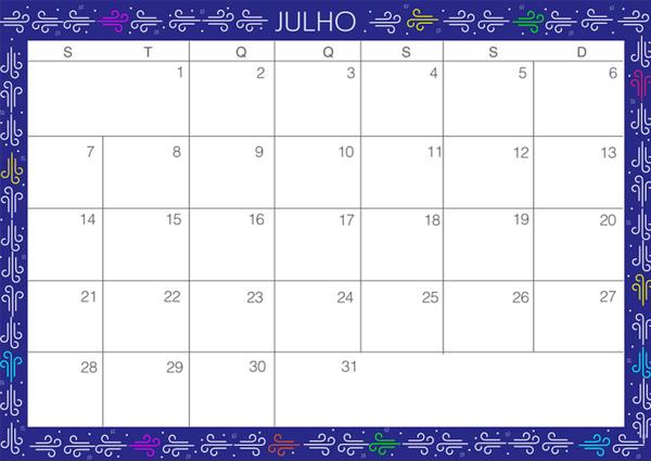 Planejamento mensal - julho de 2014
