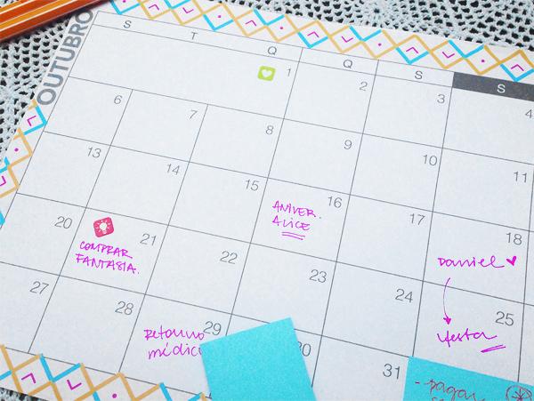 Planejamento mensal - outubro de 2014