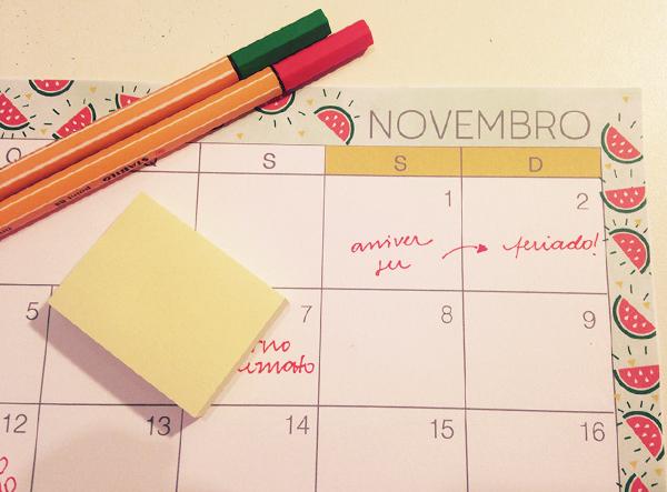 Planejamento mensal - novembro de 2014
