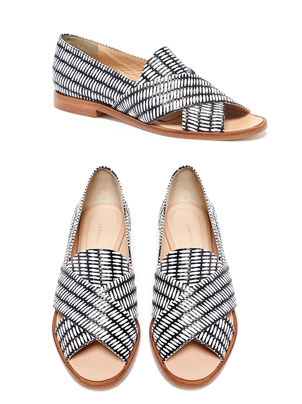 Hannele Open Loafer - Black/white raffia