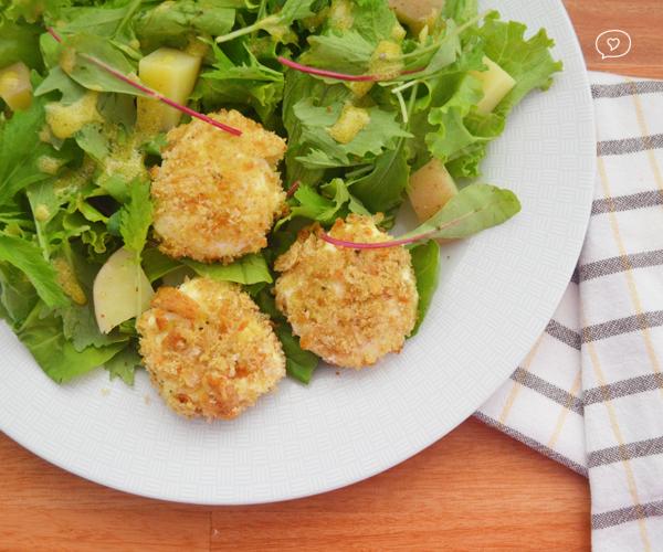Salada Verde com Queijo de Cabra Crocante
