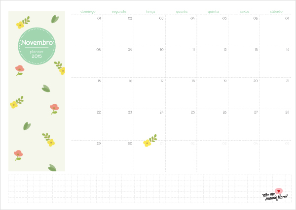Planejamento Mensal 2014 - Novembro | BLOG Não Me Mande Flores