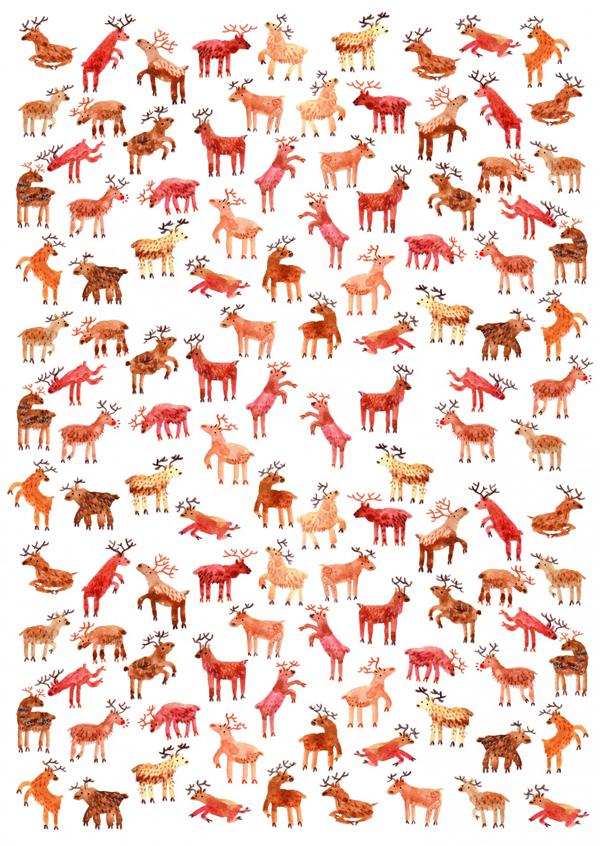 Reindeer Repeat Giftwrap, by Lorna Scobie | Papel de presente de renas | Blog Não Me Mande Flores
