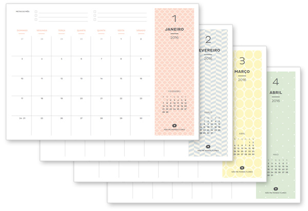 Planner 2016 Mensal E Semanal Nao Me Mande Flores