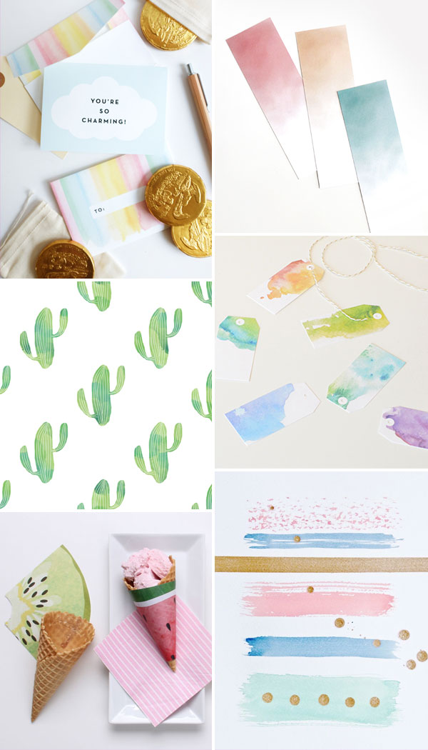 Internet Love: seis freebies com aquarelas lindas