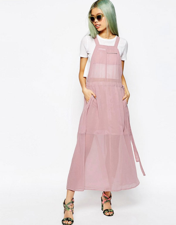 ASOS New 90's - Dungaree Maxi Dress