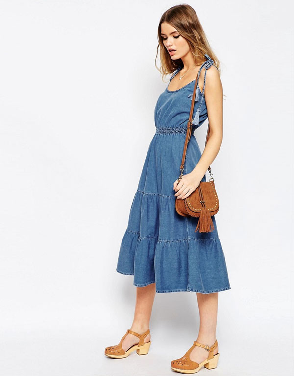 ASOS New 90's - Denim Layla Tiered Midi Dress With Tassle Straps
