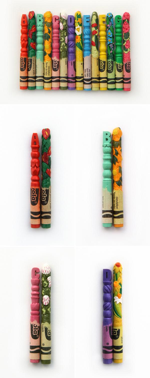 Flora, por Diem Chau | Esculturas em lápis Crayola