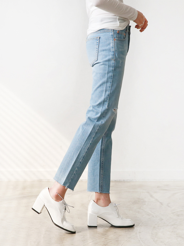 Baton | Cut-Line Light Denim + Enamel Square Shoes