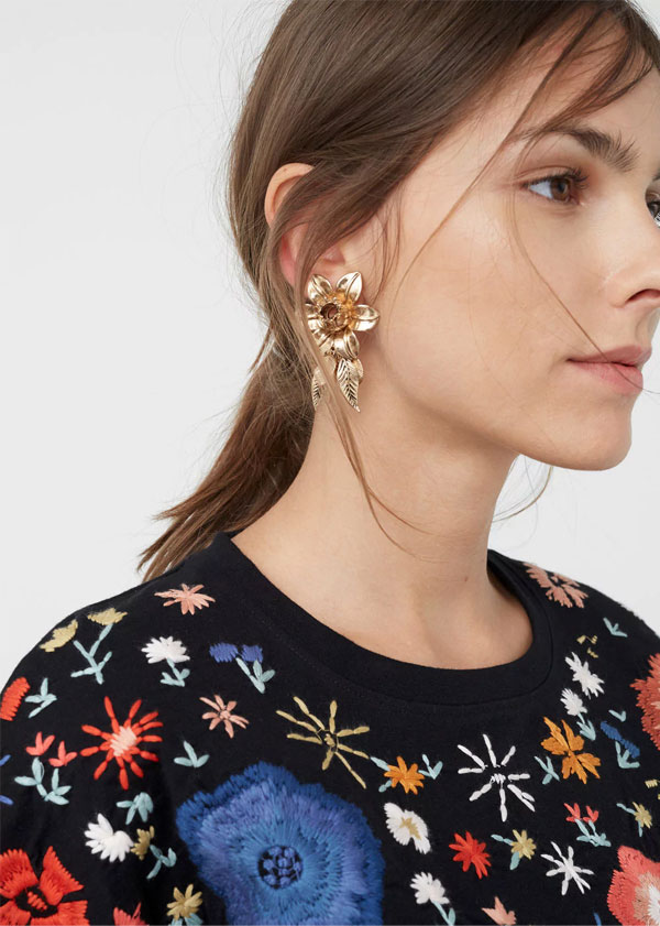 MANGO Statement Earrings | Floral earrings