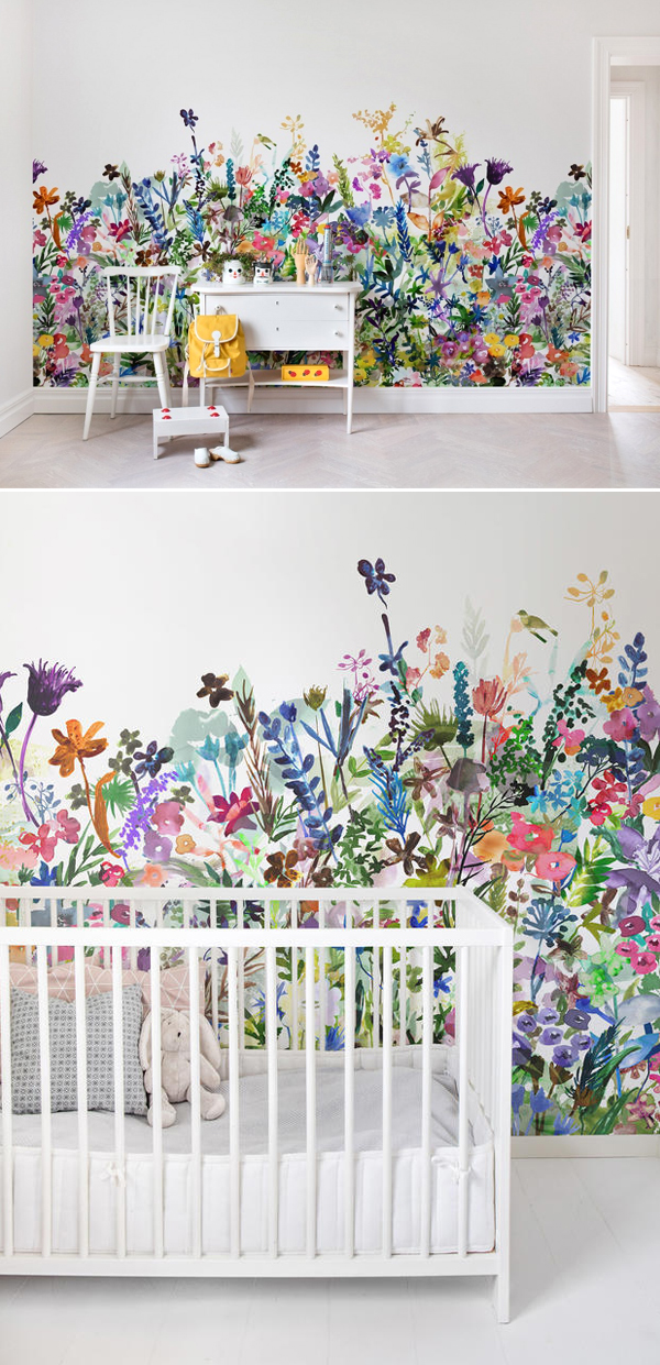 Papel de Parede florido - Quarto de bebê | May Meadow Wallpaper - Rebel Walls