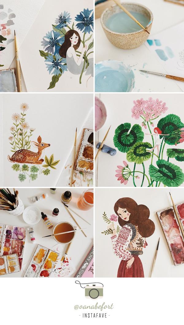 Instafave: @oanabefort | Perfil com aquarelas botânicas, arte folk e nostagia da infância