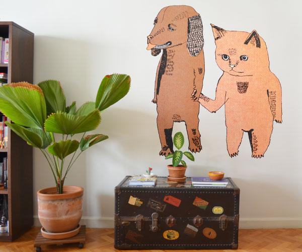 Photowall Wall Mural | Cat and Dog by Julia Pott - Não Me Mande Flores