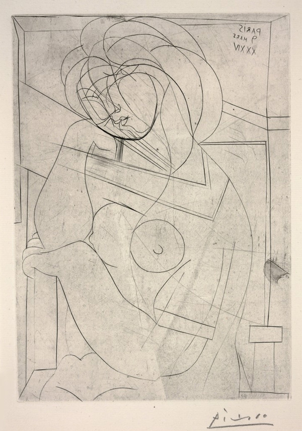Seated Nude, Her Head Leaning on Her Hand from Vollard Suite, 1934 - Pablo Picasso