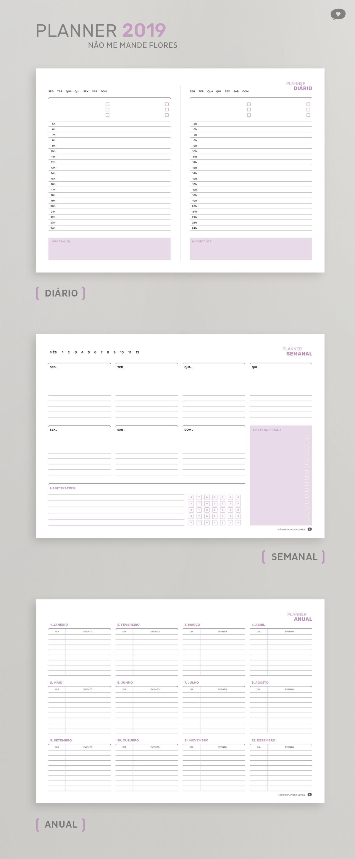 Planner Não Me Mande Flores 2019 - GRATUITO | Planner Diário, Semanal e Anual - Download no blog