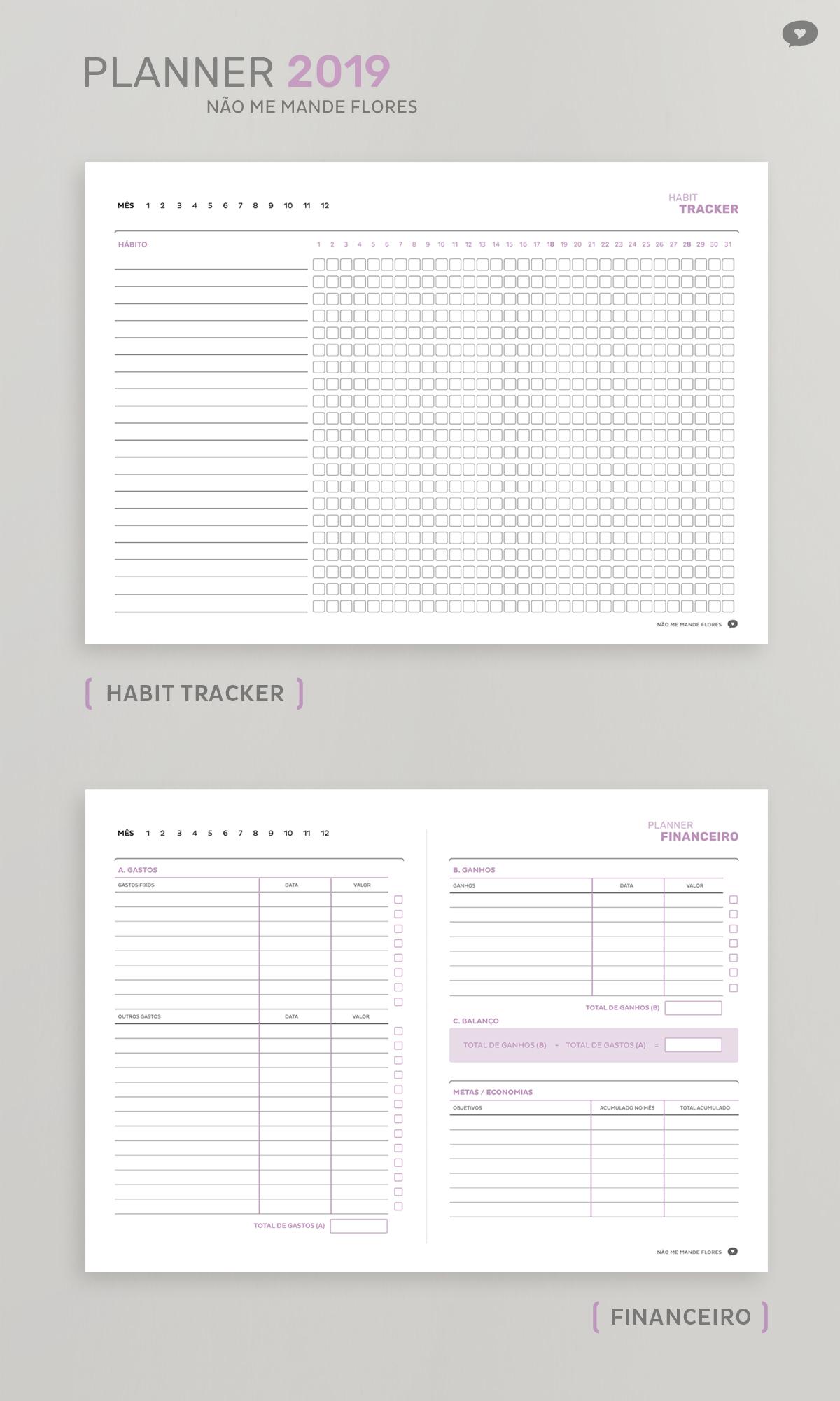 Planner Não Me Mande Flores 2019 - GRATUITO | Habit Tracker e Planner Financeiro - Download no blog
