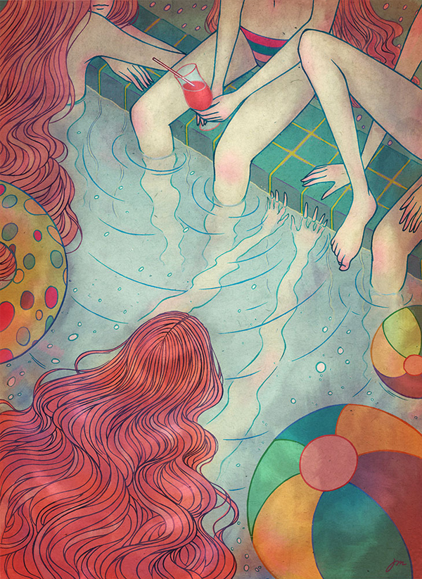 Jongmee Illustration | Girls in the Swimming Pool