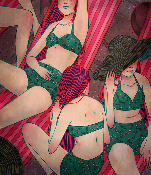 Jongmee Illustration | Girls in Bikinis