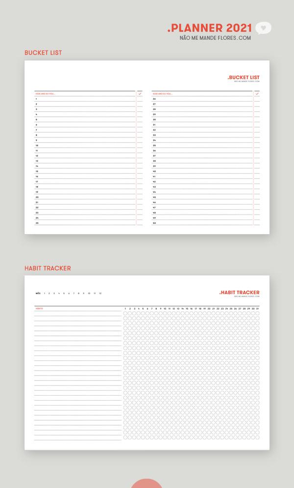Planner 2021 Bucket List e Habit Tracker • Não Me Mande Flores - download GRATUITO - freebie