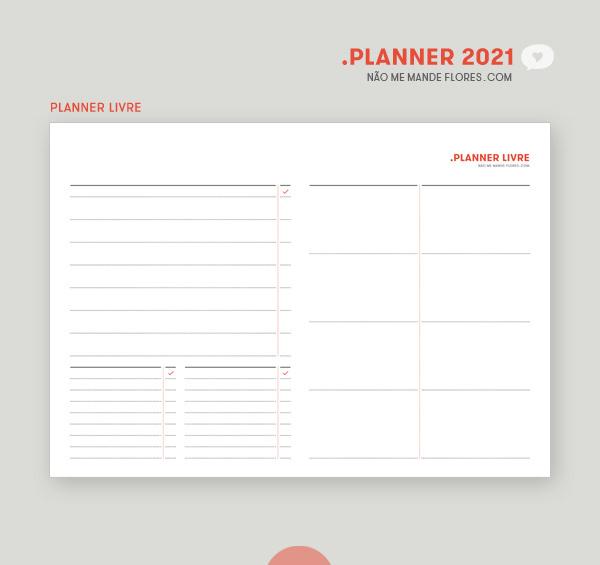 Planner 2021 Livre • Não Me Mande Flores - download GRATUITO - freebie