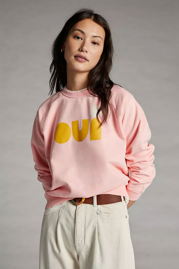 Clare V. Oui Graphic Sweatshirt | Anthropologie